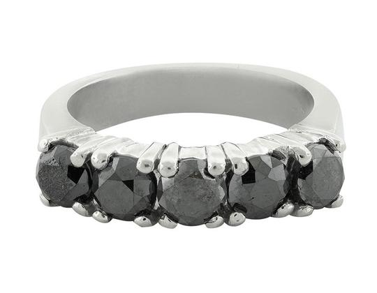 Jewelry Unlimited 5 Stone Shared Prong Treated Black Real Diamond Ring Band 2.50Ct Image 3
