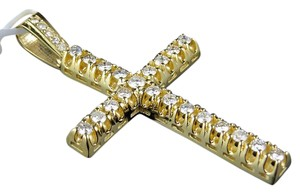 Jewelry Unlimited 10K Yellow Gold 2.5 Inch Diamond Solitaire Cross Pendant 3 Ct