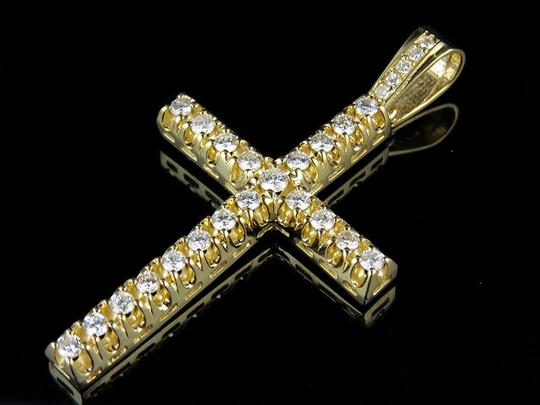 Jewelry Unlimited 10K Yellow Gold 2.5 Inch Diamond Solitaire Cross Pendant 3 Ct Image 4