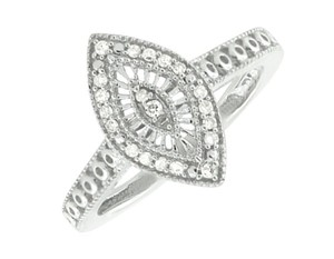 Jewelry Unlimited White Gold Finish Over Sterling Silver Marquise Diamond Ring .15ct