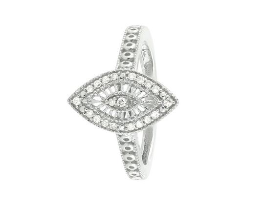Jewelry Unlimited White Gold Finish Over Sterling Silver Marquise Diamond Ring .15ct Image 1