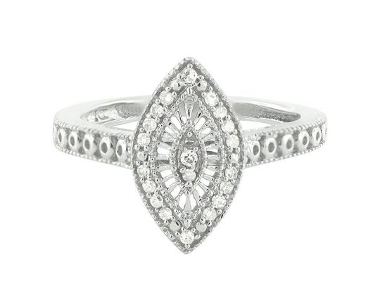Jewelry Unlimited White Gold Finish Over Sterling Silver Marquise Diamond Ring .15ct Image 3