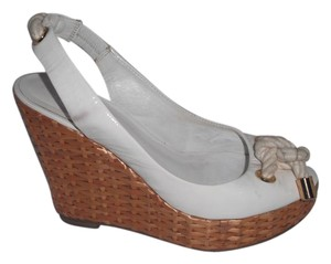 Tory Burch Parent Leather Peep Toe Wicker Espadrilles Sandals White Wedges
