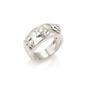 Chanel 18897 - Chanel Camelia Diamond & Star 18k White Gold Band Ring