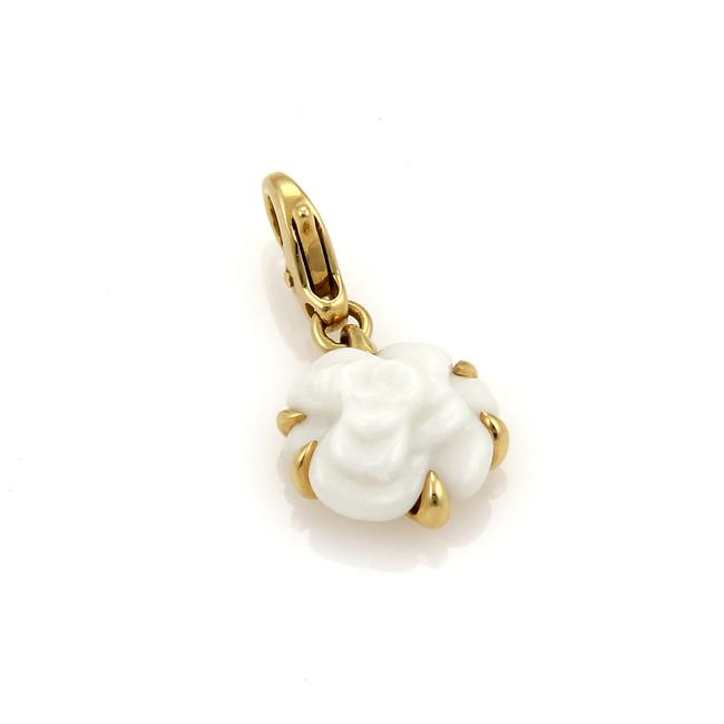 Item - Yellow Gold White Agate 20084 - Camelia 18k Carved Flower Charm