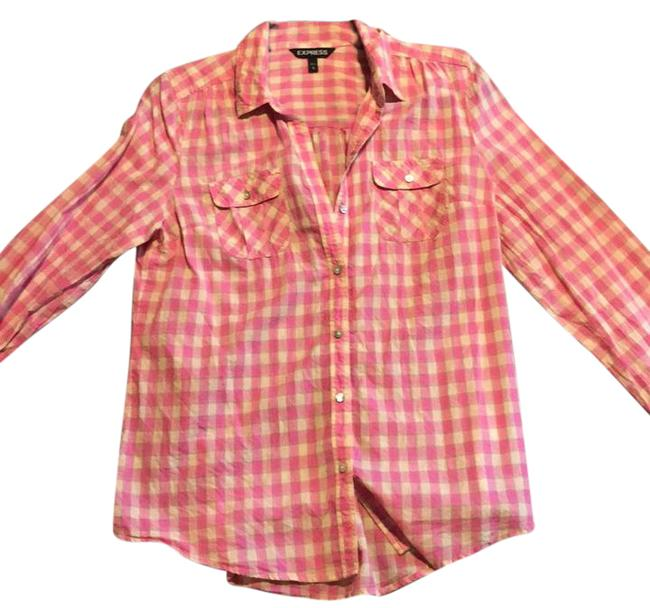 Preload https://img-static.tradesy.com/item/21463073/express-plaid-pink-button-down-top-size-8-m-0-1-650-650.jpg