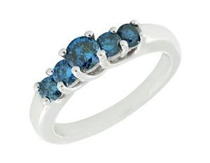 Jewelry Unlimited Treated 5 Blue Stone Genuine Diamond Engagement Ring 0.75Ct