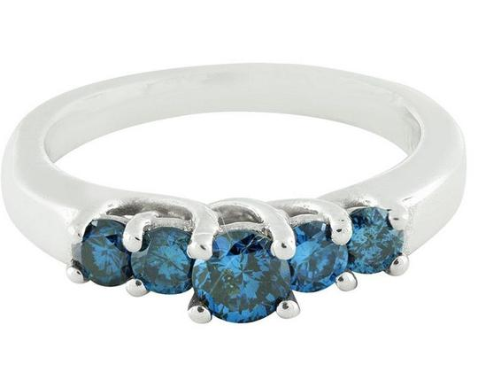 Jewelry Unlimited Treated 5 Blue Stone Genuine Diamond Engagement Ring 0.75Ct Image 3