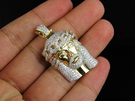 Jewelry Unlimited Solid Unisex VS2 Real Diamond Jesus Crown Charm Pendant 3ct 1.5