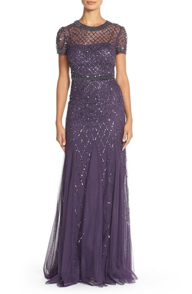 Adrianna Papell Purple Cap Sleeve Beaded Gown Long Formal Dress Size ...