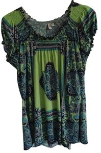 Madison Top lime green, navy blue, turquise