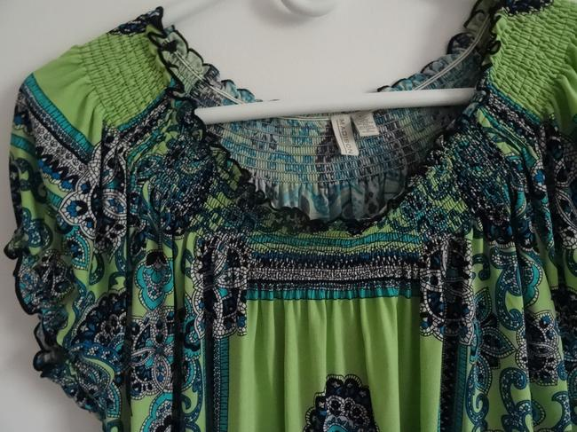 Madison Top lime green, navy blue, turquise Image 1