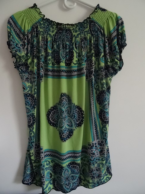 Madison Top lime green, navy blue, turquise Image 2