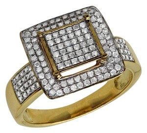 Jewelry Unlimited Ladies Square Frame Real Diamond Statement Wedding Ring 0.51ct