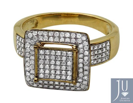 Jewelry Unlimited Ladies Square Frame Real Diamond Statement Wedding Ring 0.51ct Image 1