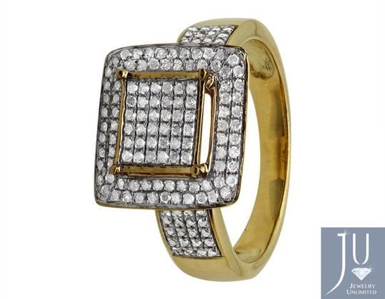 Jewelry Unlimited Ladies Square Frame Real Diamond Statement Wedding Ring 0.51ct Image 4