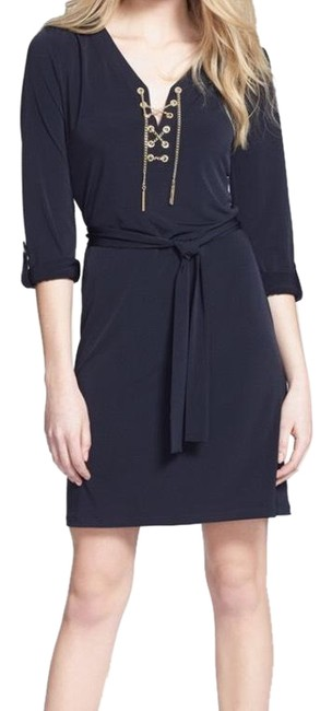 Preload https://img-static.tradesy.com/item/21463440/michael-kors-navy-blue-chain-lace-jersey-regular-and-petite-short-cocktail-dress-size-8-m-0-5-650-650.jpg