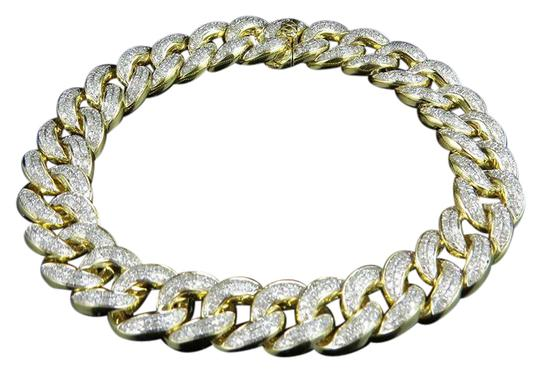 Preload https://img-static.tradesy.com/item/21463441/10k-yellow-gold-pave-round-cut-12-mm-diamond-miami-cuban-85-60ct-bracelet-0-1-540-540.jpg
