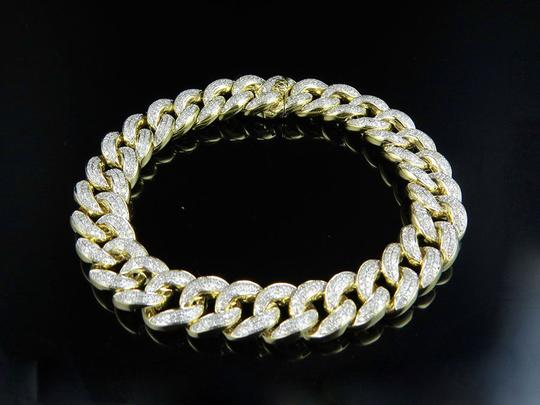 Jewelry Unlimited Pave Round Cut 12 MM Diamond Miami Cuban Bracelet 8.5