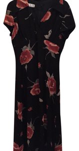 Black with Red Flowers. Maxi Dress by Kenar