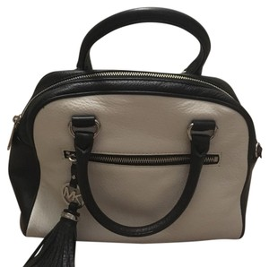 Michael Kors Leather Color-blocking Satchel in black, white