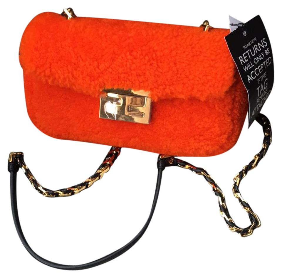 6d3c9274830f Fendi Mini Baguette Orange Shearling Wool Cross Body Bag - Tradesy