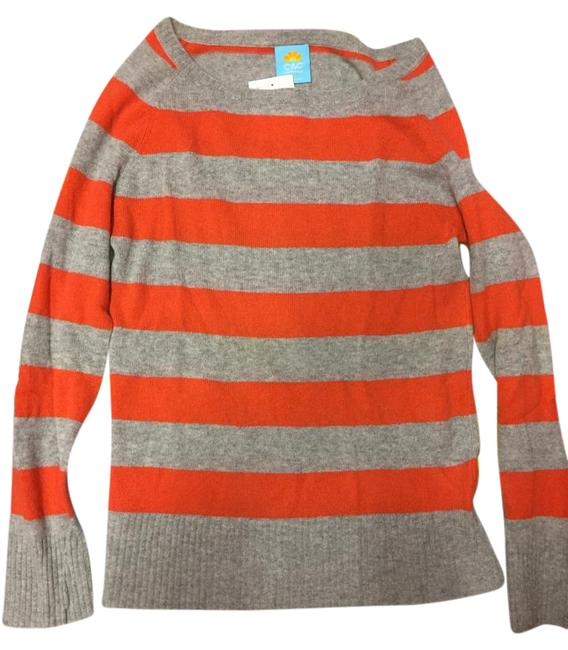 Preload https://img-static.tradesy.com/item/21463608/c-and-c-california-orange-grey-striped-cashmere-sweater-tunic-size-8-m-0-1-650-650.jpg