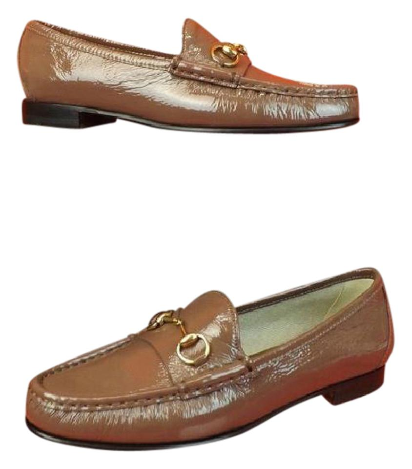 9ff0bba07b6 Gucci Old Mauve Horsebit Patent Texture Leather Gold Loafers 7.5 ...