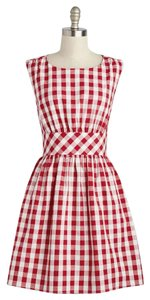 Modcloth short dress Red Retro Gingham A-line Summer Picnic on Tradesy