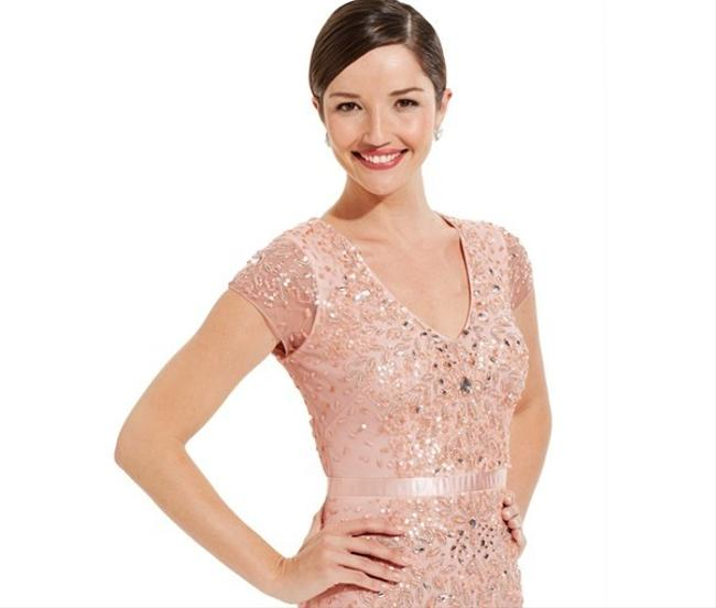 Adrianna Papell Embellished Beaded Sequin Mesh Dress Image 2