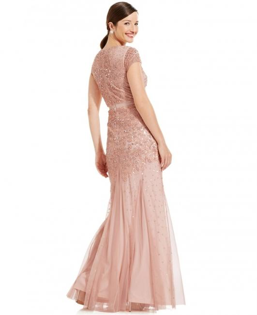 Adrianna Papell Embellished Beaded Sequin Mesh Dress Image 3