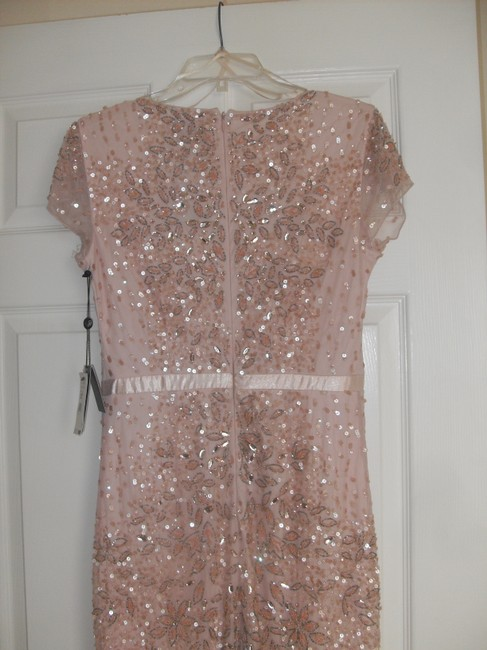 Adrianna Papell Embellished Beaded Sequin Mesh Dress Image 5