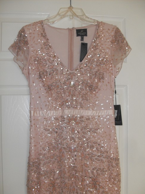 Adrianna Papell Embellished Beaded Sequin Mesh Dress Image 6