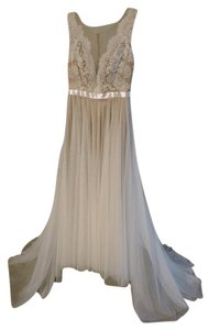 Watters Nude/Ivory/Bronze/Gardinia Silk Charmeuse with Lace Designer: Name: Santina; Style #6089b Vintage Wedding Dress Size Petite 2 (XS)