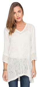 Johnny Was V-neck Embroidered Geometric Rayon Tunic
