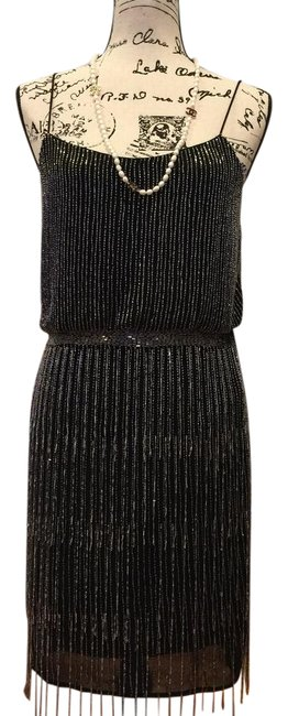 Item - Black with Silver Beads 041900910- Short Cocktail Dress Size 4 (S)