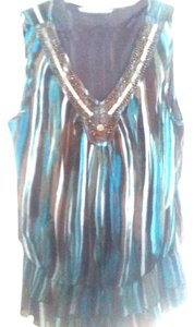 Signature by Larry Levine Neck Detail Dressy Top Teal and brown