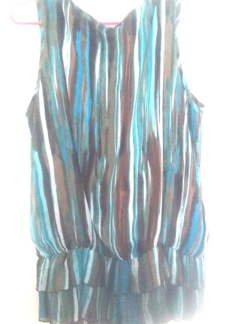 Signature by Larry Levine Neck Detail Dressy Top Teal and brown Image 2