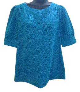 Banana Republic Turquoise Henley Spring Summer Semi Sheer Top Blue