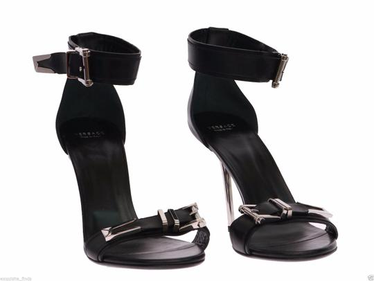 Versace Leather Black Sandals Image 3