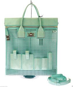 Versace Patent Leather Tote in Teal
