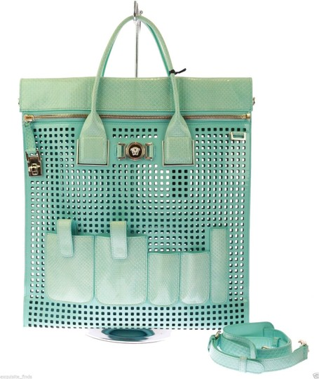 Preload https://img-static.tradesy.com/item/21464734/versace-new-perforated-patent-and-teal-snakeskin-leather-tote-0-0-540-540.jpg