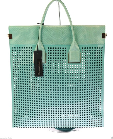 Versace Patent Leather Tote in Teal Image 1
