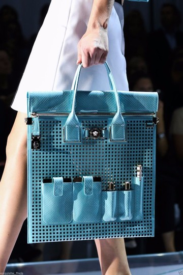 Versace Patent Leather Tote in Teal Image 3