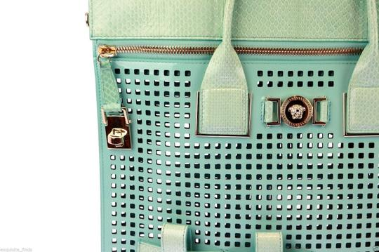 Versace Patent Leather Tote in Teal Image 4
