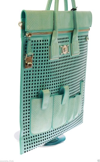 Versace Patent Leather Tote in Teal Image 6