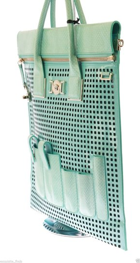 Versace Patent Leather Tote in Teal Image 7