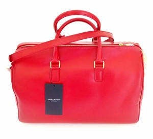 Saint Laurent Ysl Duffle 12 Leather Duffle Satchel in RED