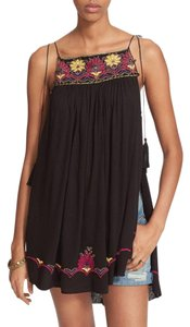Free People Strappy Tassels Sleeveless Embroidered Side Slits Tunic