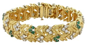 None Estate 7.60ct Emerald & Diamond 18k Yellow Gold Floral Leaf Bracelet